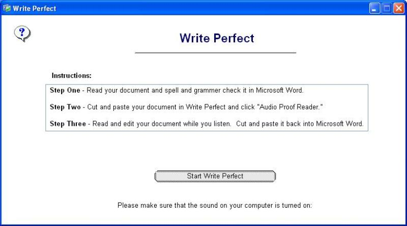 Click to view Write Perfect Proofreading Software 1.7 screenshot